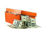 Shoe Box full of Money — Stock Photo