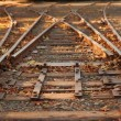 Close up railroad tracks switch — Stock Photo