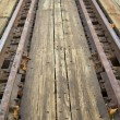 Stock Photo: Railroad tracks of round table