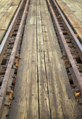 Railroad tracks of a round table — Stock Photo