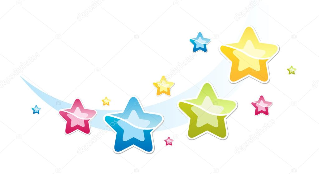 Illustration with many-coloured stars — Stock Vector #2576207