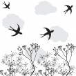 Withered flowers and swallows — Stock Vector