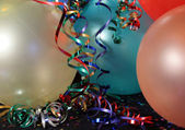 Multi Colored Party balloons with Ribons — Stock Photo