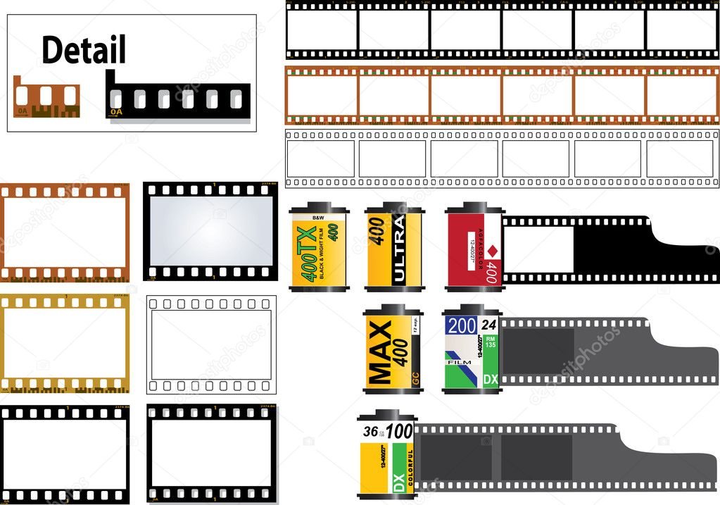 6 frame of 35mm film strip in color and b&w film types. Also individual frames and an outline frame plus several film cassettes. Film Strip has detais.  Stock Vector #2560409
