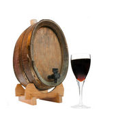 Wine Barrel and Glass of Port — Stock Photo