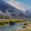 Stock Photo: Akkem river and Altai mountains