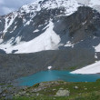 Stock Photo: Turquoise lake in front of snowed hills