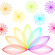 Rainbow flowers - Stock Vector