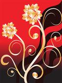 χρυσή floral — Διανυσματικό Αρχείο