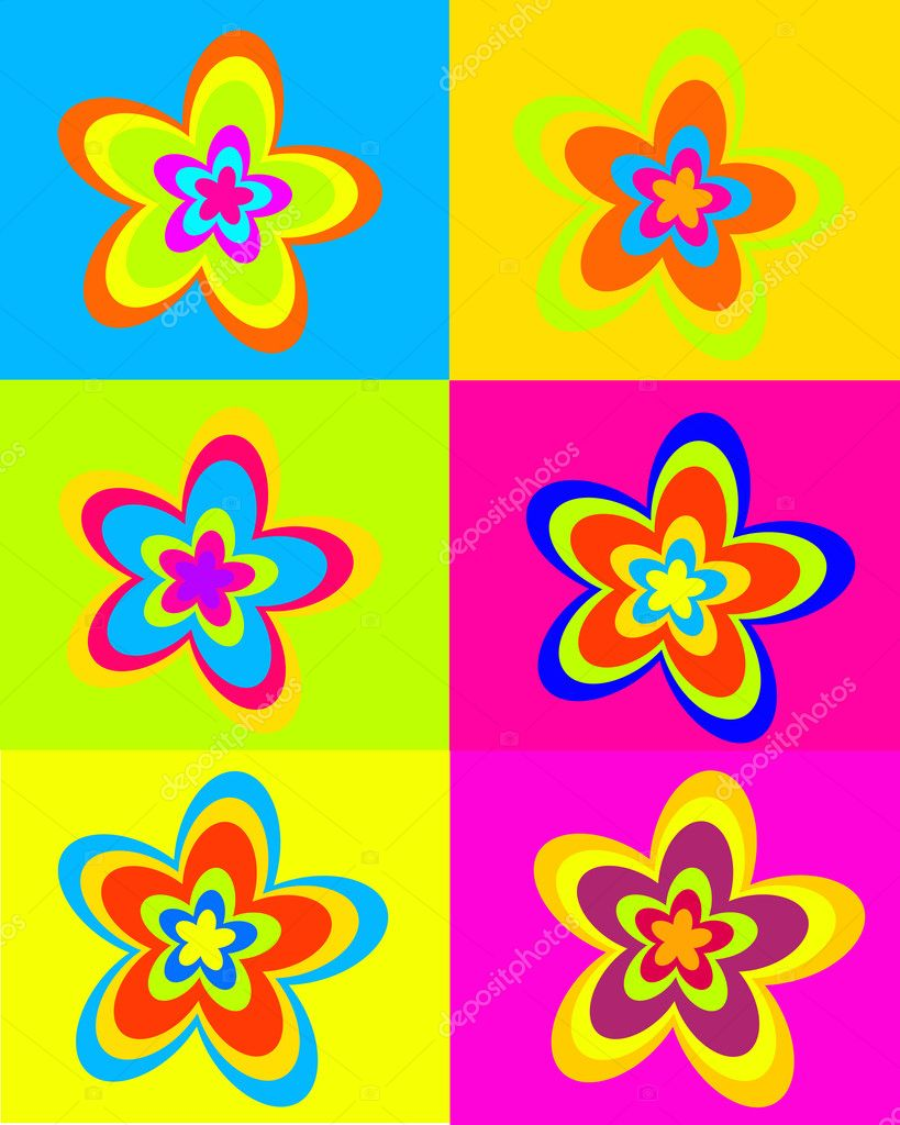 Vector illustration of colorful retro flowers — Stock Vector #2568040