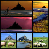 Abbey Mont-Saint-Michel mosaic — Stock Photo