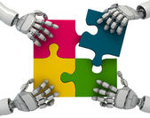 Three-dimensional models of hands of the abstract robot collecting puzzles — Stock Photo