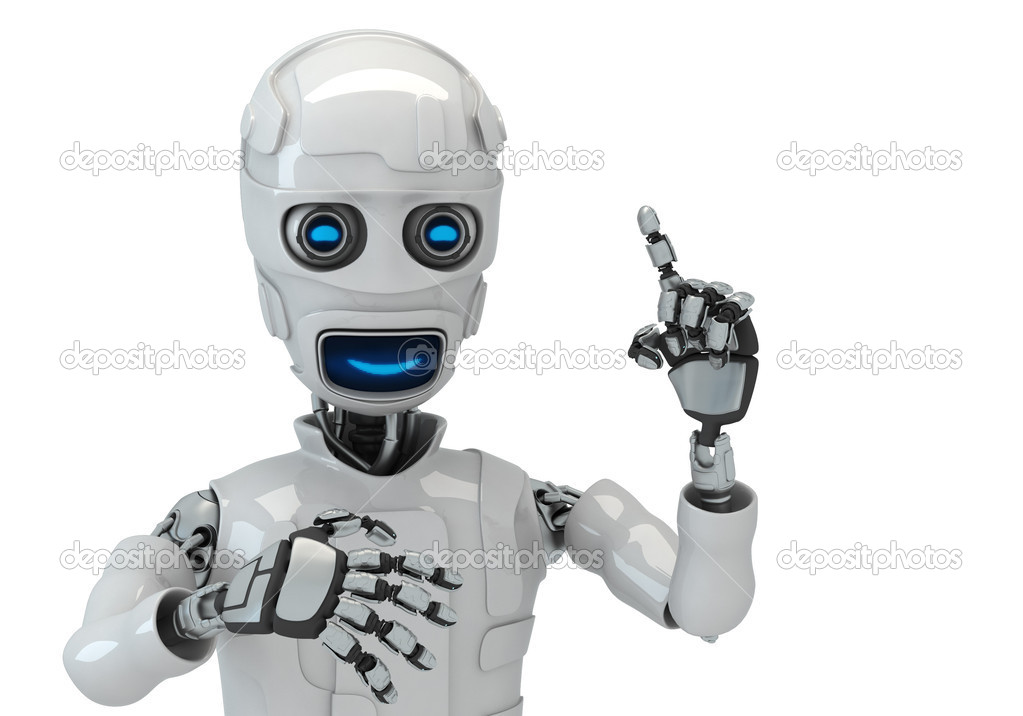 Three-dimensional model of the robot on an white background — Stock Photo #2559622
