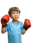 The five years' boy in red gloves for boxing learns to box — Stock Photo