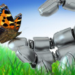 Robot and butterfly — Stock Photo #2582138
