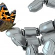 Robot and butterfly — Stock Photo