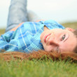 The girl on a grass — Stock Photo