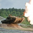 Shooting russian tank — Stock Photo