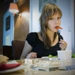 Eating girl — Stock Photo