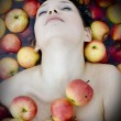 Girl in apples — Stock Photo #2566068