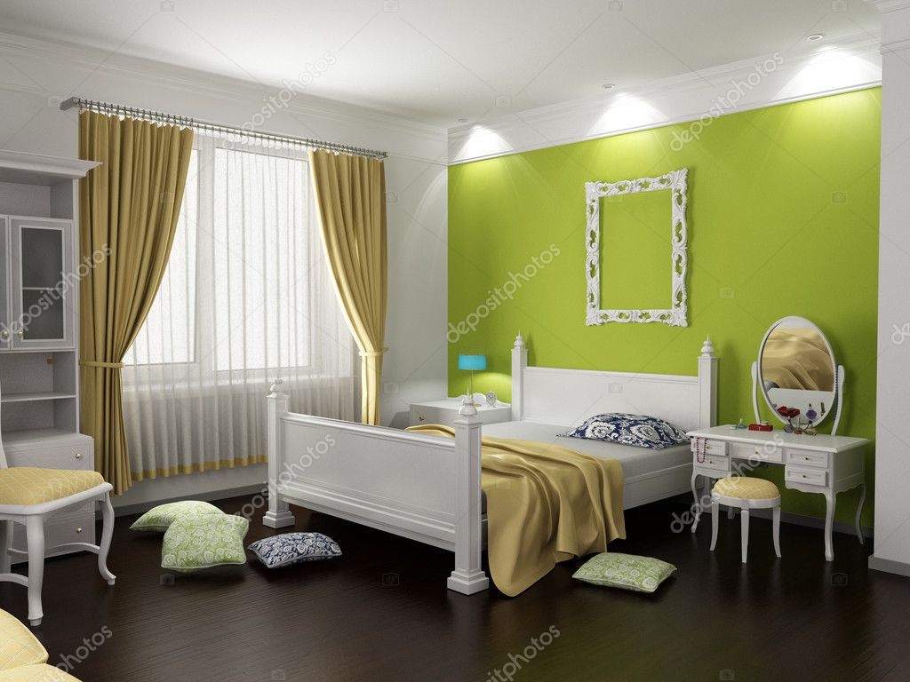 Modern bedroom interior in classic style (3D rendering) — Stock Photo #2565533