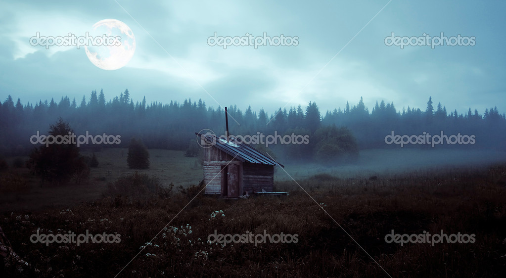 Little house over the mystery moon landscape — Stock Photo #2565982