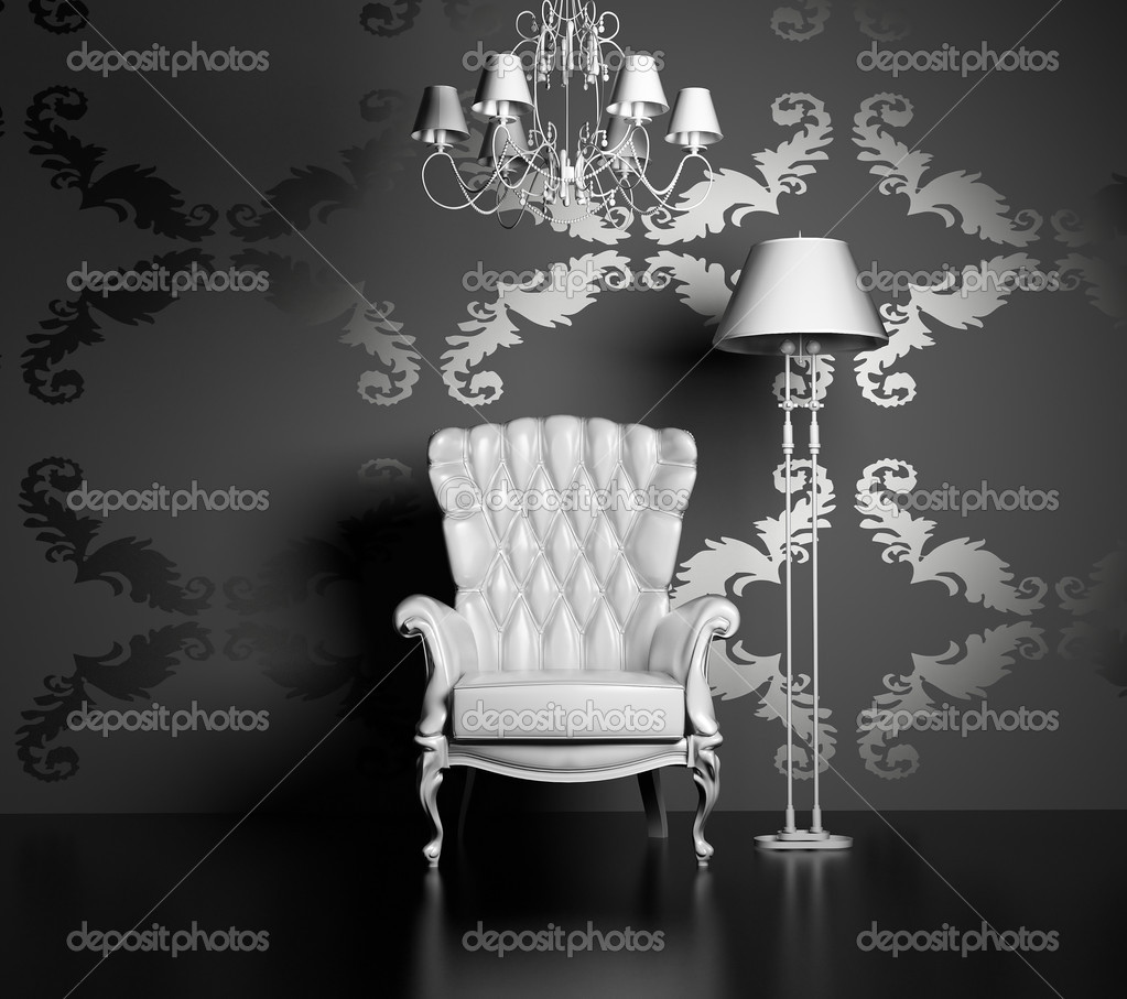 3D interior scene with classic armchair and lamp  Photo #2565996