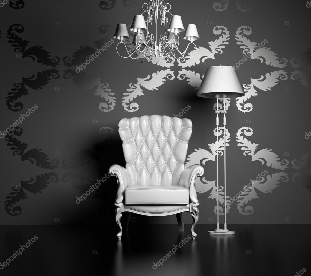 3D interior scene with classic armchair and lamp   #2565996