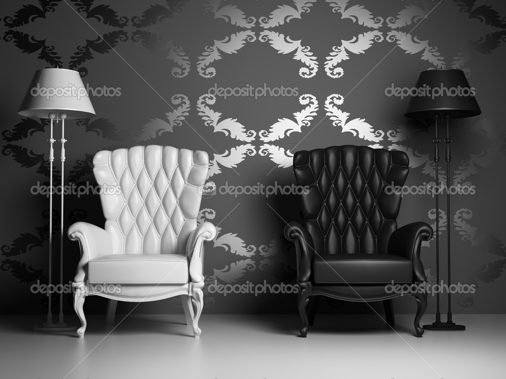 White & black vintage armchairs over baroque style wallpaper (3D) — Stock Photo #2571597