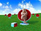Donna in poltrona — Foto Stock