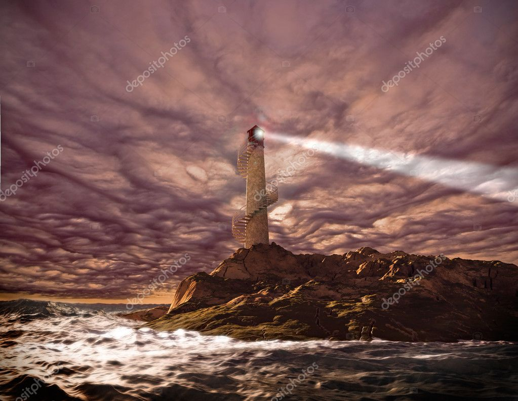 Sunset lighthouse landscape ( 3d rendering) — Stock Photo #2642188