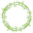Round woven bamboo frame — Stock Vector