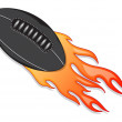 Flying rugby ball with a fiery tail — Stock Vector