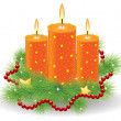 Stock Vector: Christmas candle