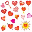 Set of valentine hearts — Vector de stock