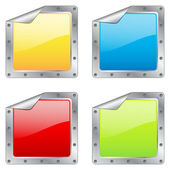 Square metal stickers — Stock Vector