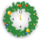 Christmas clock — Stock Vector