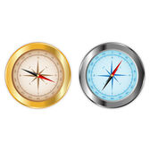 Compass in gold and chrome — Stock Vector