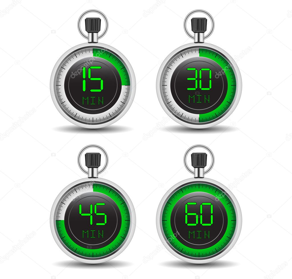 Digital timer displays 15, 30, 45 and 60 minutes of green neon numbers — Stock Vector #2557332