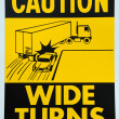 Caution Wide Turns - Zdjęcie stockowe