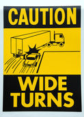Caution Wide Turns — Stock Photo