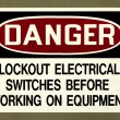 Stock Photo: DANGER - Lockout Electrical Switches