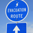 Evacuation Route Sign - Stock Photo