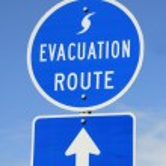 Evacuation Route Sign — Stock Photo