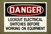 DANGER - Lockout Electrical Switches — Stock Photo