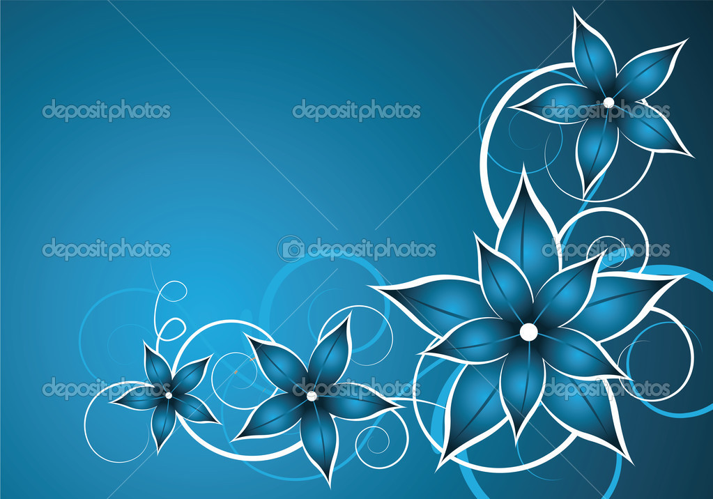 Abstract blue vector background with flower  Stock Vector #2599334