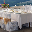 Fancy table set for a wedding dinner — Stok fotoğraf