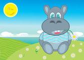 Joyful hippopotamus — Stock Vector