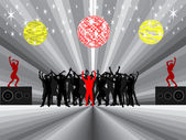 Dancing under mirror balls — Stock Vector