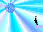 Blue mirror ball with women — Stock Photo